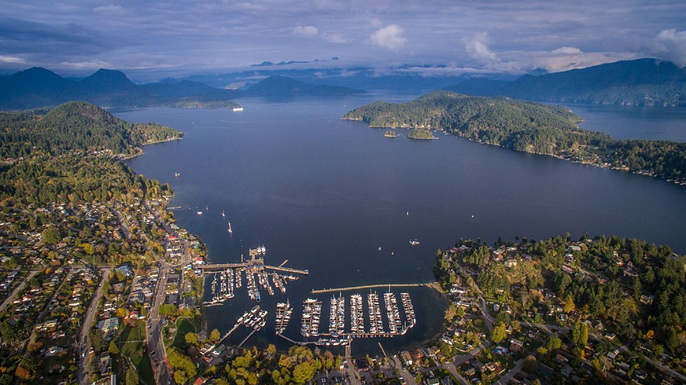 Aerial view of Gibsons Marina